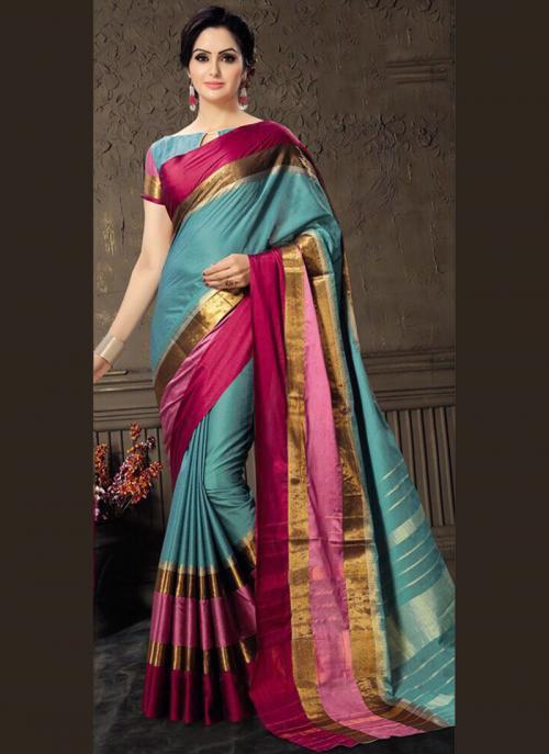 Casual Wear Sky Blue Cotton Silk Lace Work Saree