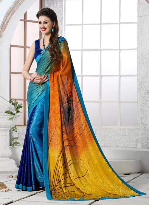Casual Wear Sky Blue Jacqaurd Printed Work Saree