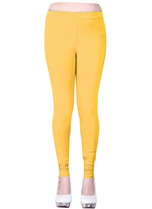 Casual Wear Yellow Cotton Plain Leggins