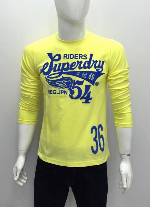 Casual Wear Yellow Cotton Plain T-Shirts