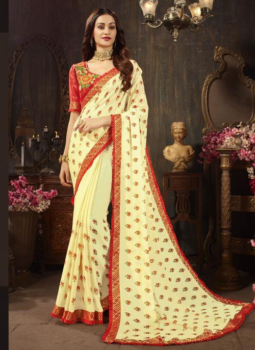 Casual Wear Yellow Georgette Silk Embroidery Work Saree