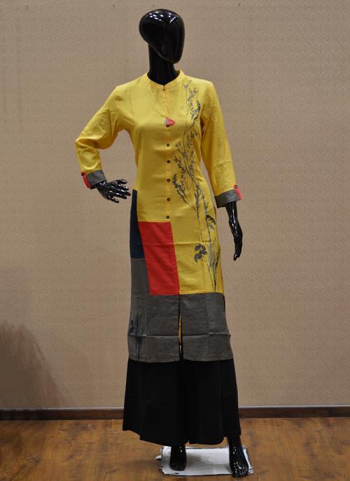 Casual Wear Yellow Rayon Embroidery Work Kurti