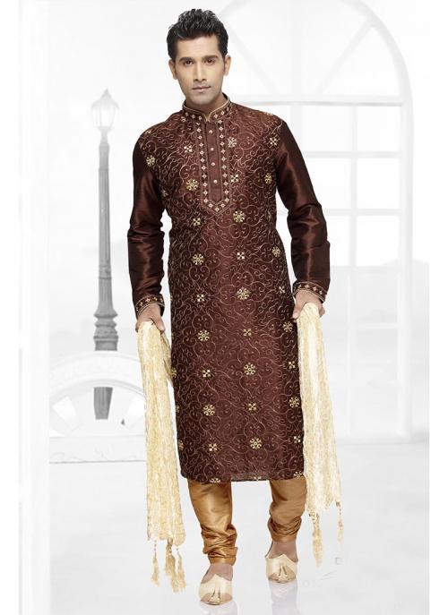 Coffee Dhupion Kurta Pajama Collection For Wedding
