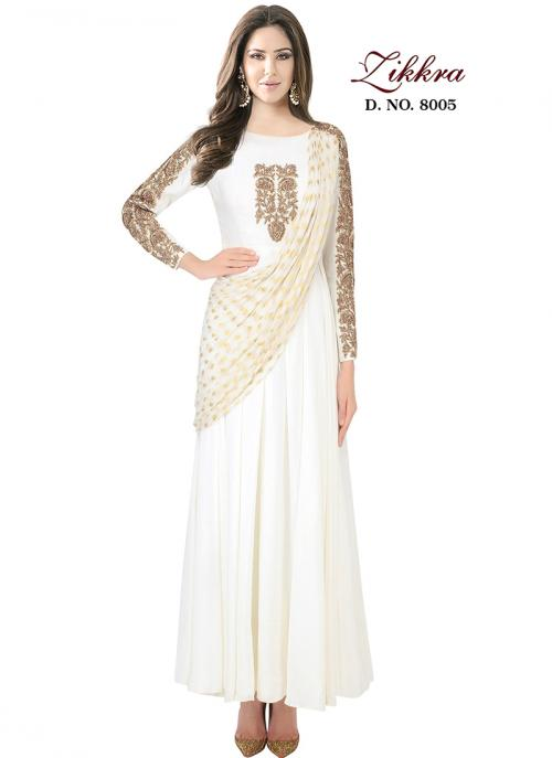 Party Wear Cream Georgette Embroidered Work Gown