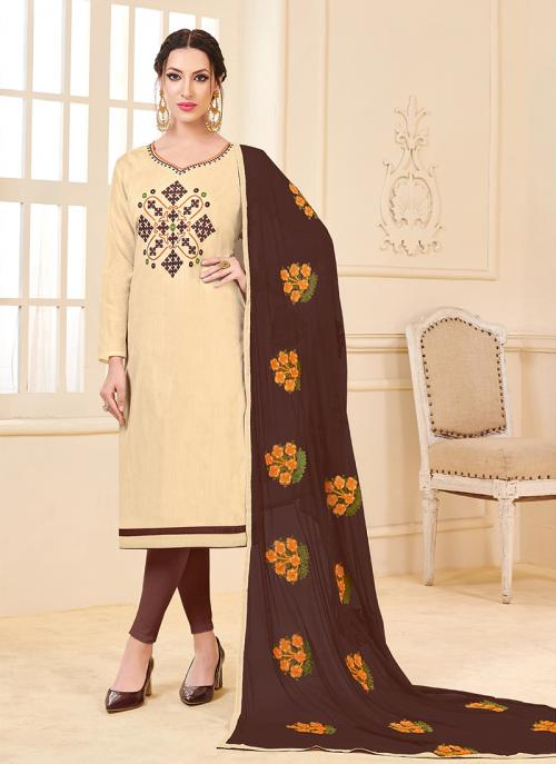 Daily Wear Beige Banglori Slub Embroidery Work Churidar Style