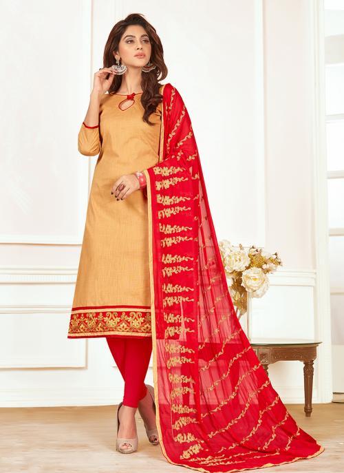 Daily Wear Beige Slub Cotton Lace Work Churidar Style
