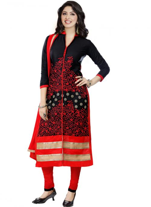 Daily Wear Black Cotton Embroidery Work Churidar Suit