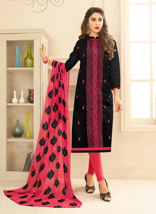 Daily Wear Black Jacqaurd Embroidery Work Churidar Suit