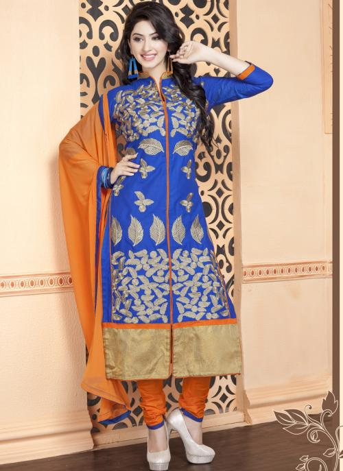 Daily Wear Blue Cotton Embroidery Work Churidar Suit