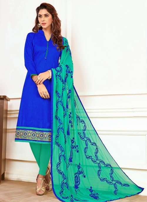 Daily Wear Blue Slub Cotton Lace Work Churidar Style