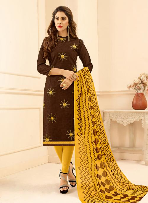 Daily Wear Brown Jacqaurd Embroidery Work Churidar Suit