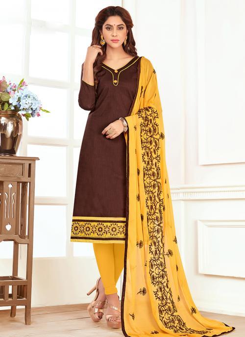Daily Wear Brown Slub Cotton Lace Work Churidar Style