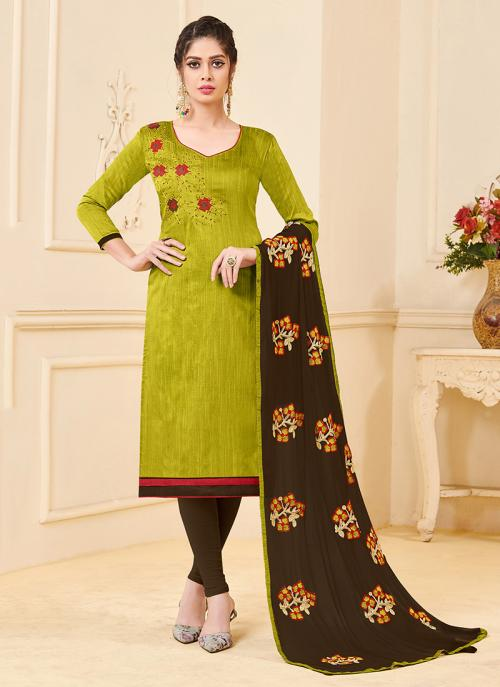 Daily Wear Green Banglori Slub Embroidery Work Churidar Style