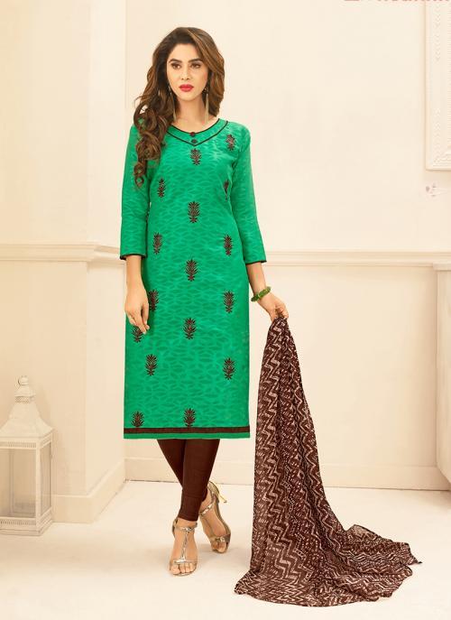 Daily Wear Green Jacqaurd Embroidery Work Churidar Suit