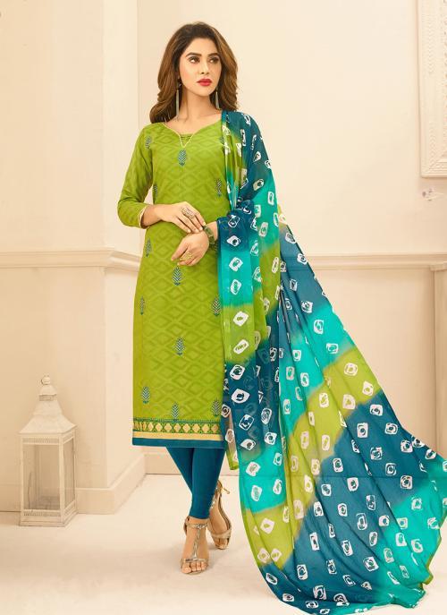 Daily Wear Light Green Jacqaurd Embroidery Work Churidar Suit