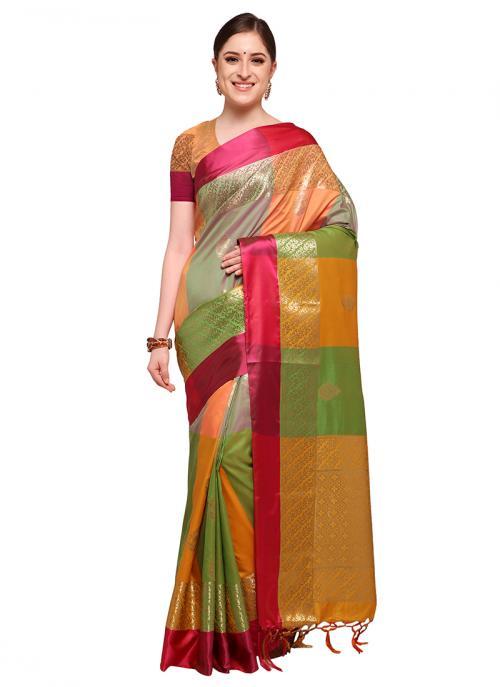 Daily Wear Multi Color Silk Zari Work Saree