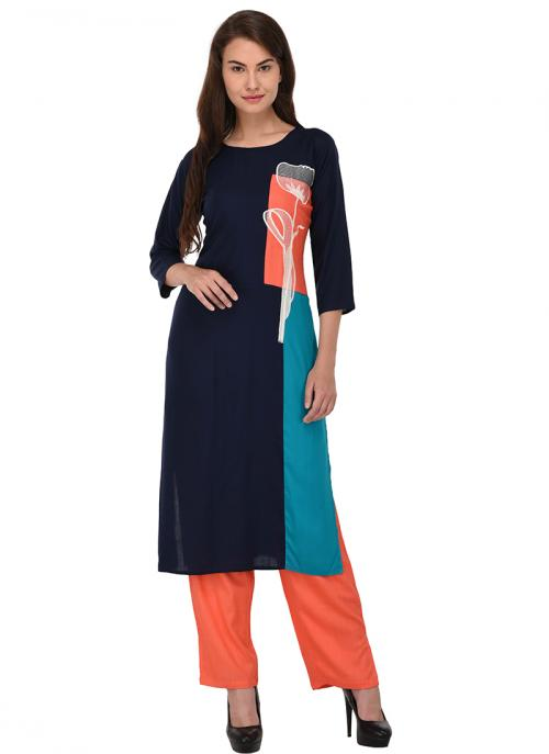 Daily Wear Neavy Blue Cotton Patch Work Kurti