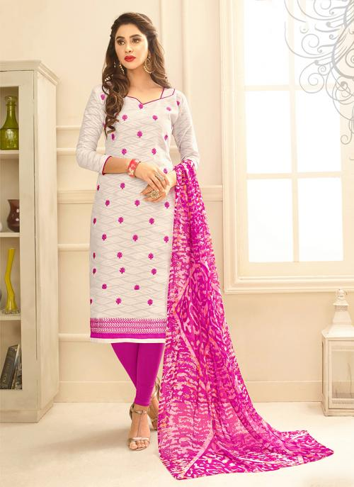 Daily Wear Off White Jacqaurd Embroidery Work Churidar Suit