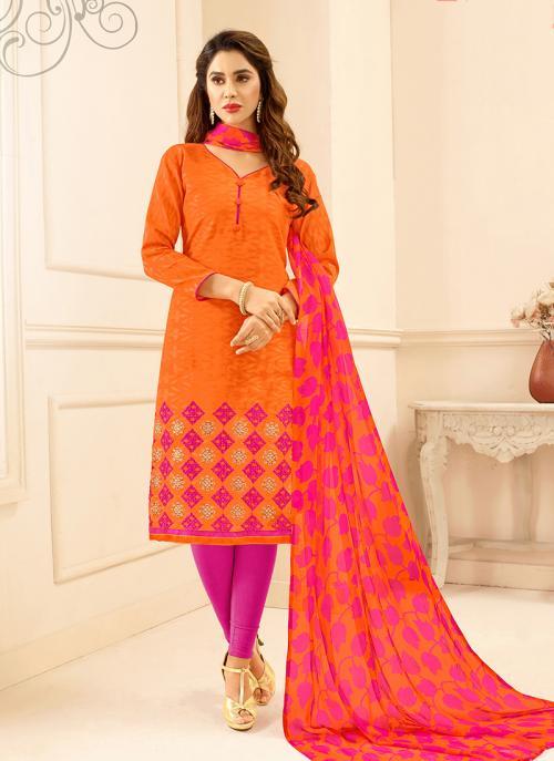 Daily Wear Orange Jacqaurd Embroidery Work Churidar Suit
