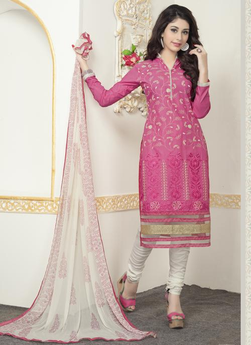 Daily Wear Pink Cotton Embroidery Work Churidar Suit