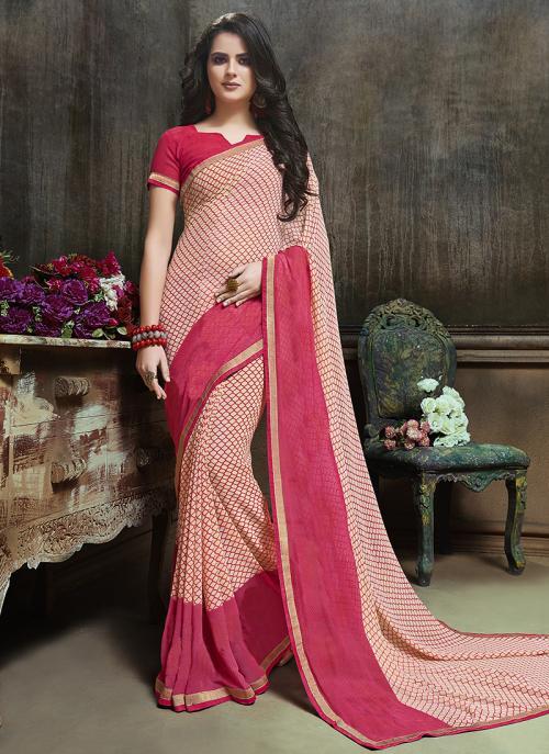 Daily Wear Pink Georgette Printed Saree