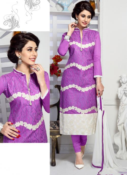 Daily Wear Purple Cotton Embroidery Work Churidar Suit