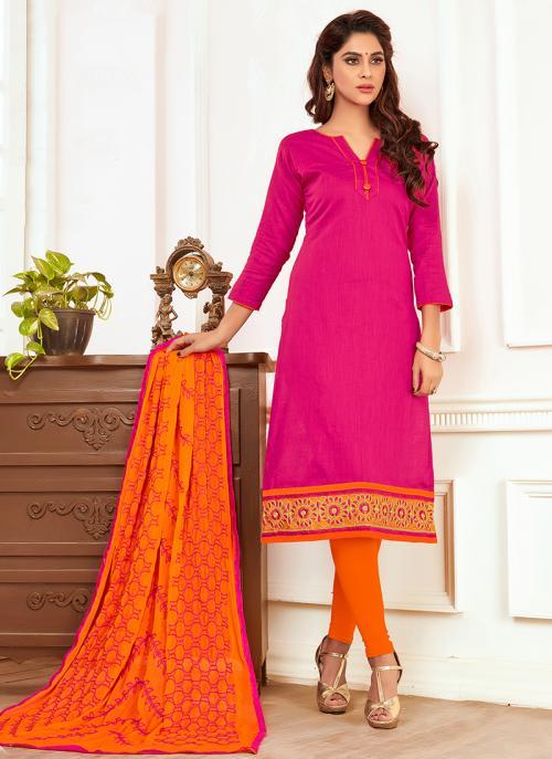 Daily Wear Rani Slub Cotton Lace Work Churidar Style