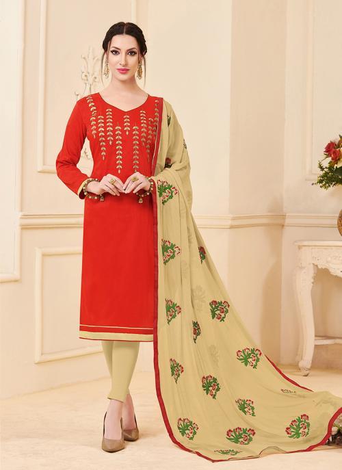 Daily Wear Red Banglori Slub Embroidery Work Churidar Style