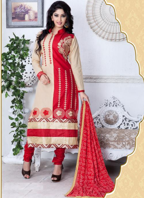 Daily Wear Red Cotton Printed Work Churidar Suit
