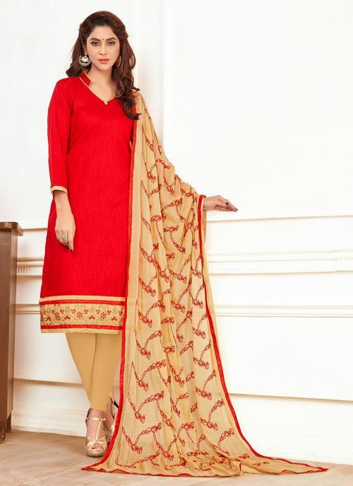 Daily Wear Red Slub Cotton Lace Work Churidar Style