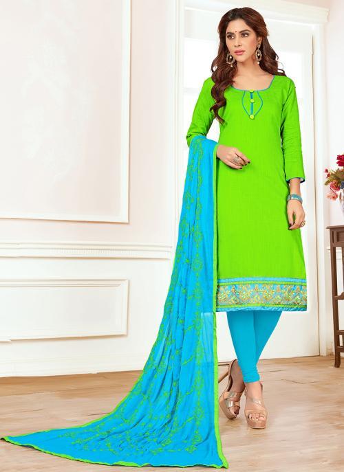 Daily Wear Sea Green Slub Cotton Lace Work Churidar Style