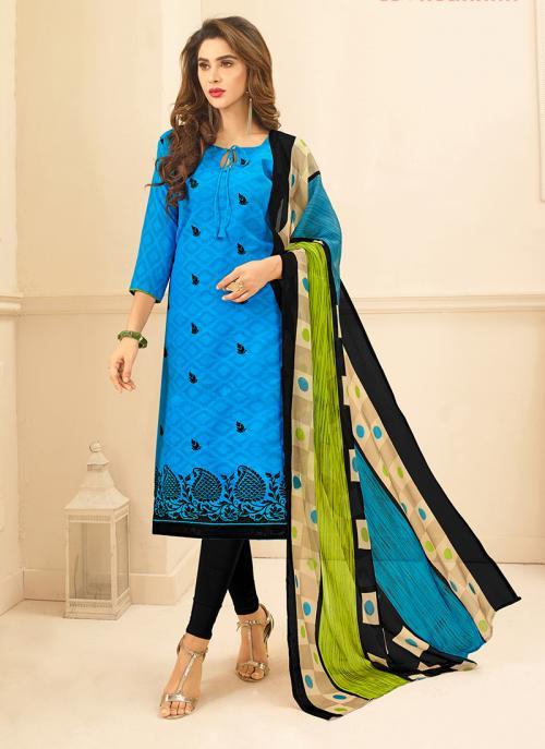 Daily Wear Sky Blue Jacqaurd Embroidery Work Churidar Suit