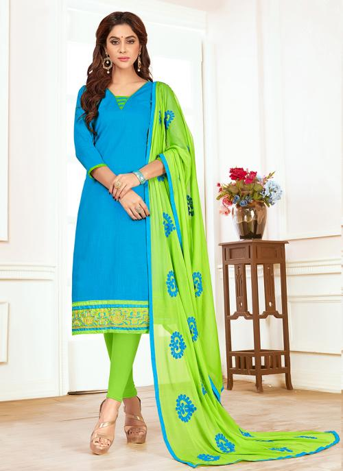 Daily Wear Sky Blue Slub Cotton Lace Work Churidar Style