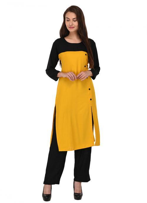 Daily Wear Yellow Cotton Patch Work Kurti