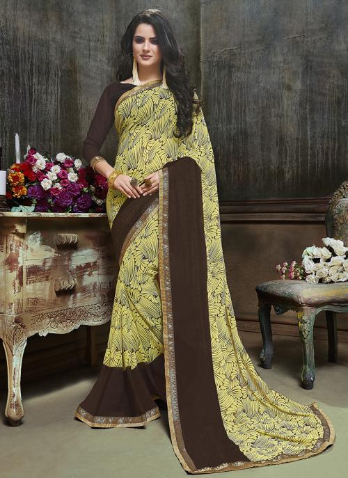 Daily Wear Yellow Georgette Printed Saree