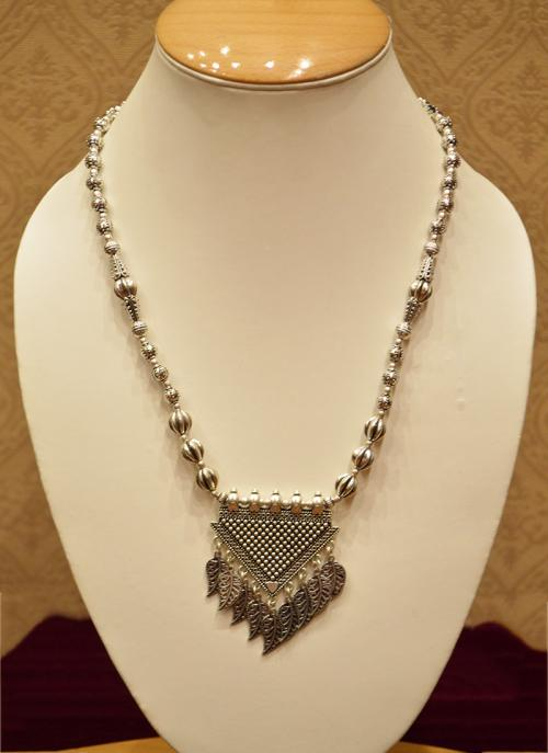 Designer silver oxidised necklace for women