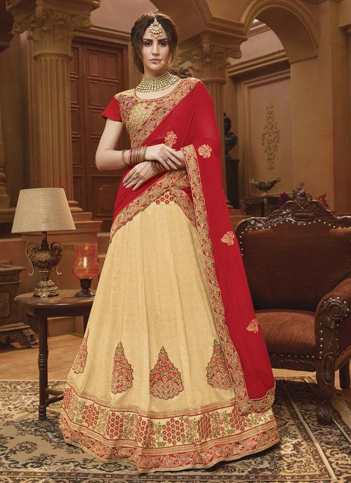 Festival Wear Beige Banglori Silk Lace Work Lehenga Choli