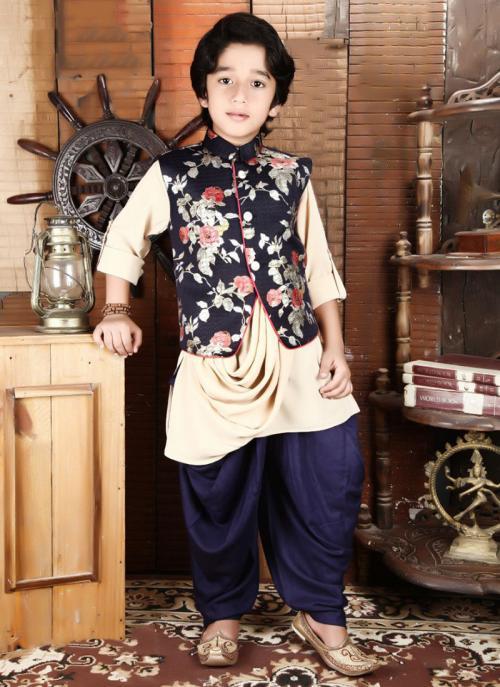 Festival Wear Beige Rayon Printed Work Kids Kurta Pajama