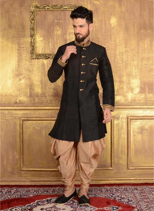 Festival Wear Black Banarasi Silk Embroidery Work Sherwani