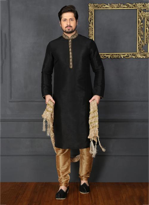 Festival Wear Embroidery Work Black Banarasi Silk Designer Sherwani Style