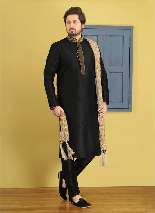 Festival Wear Banarasi Silk  Black Embroidery Work Sherwani Style