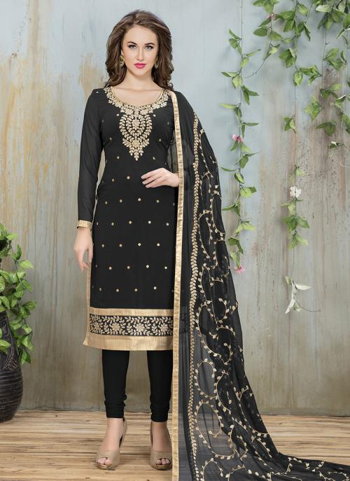 Festival Wear Black Faux Georgette Embroidery Work Churidar Style