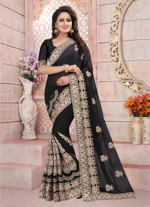 Festival Wear Black Georgette Coding Embroidery Work Saree