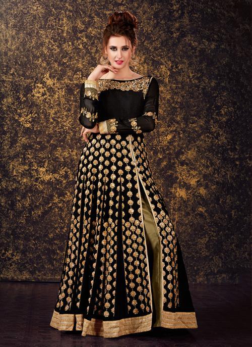 Festival Wear Black Georgette Sequins Work Anarkali Style