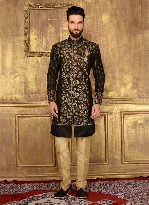 Festival Wear Black Jacqaurd Embroidery Work Sherwani