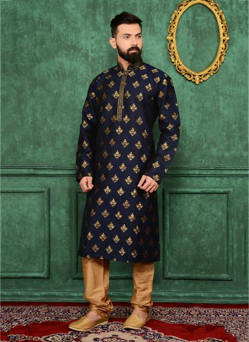 Festival Wear Black Jacqaurd Silk Lace Work Kurta Pajama