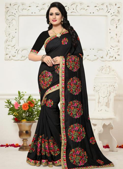 Festival Wear Black Silk Resham Work Saree