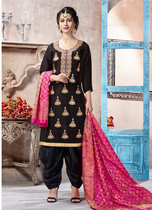Festival Wear Black Uppada Silk Machine Work Patiala Suit
