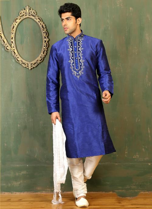 Festival Wear Blue Art Silk Embroidered Work Kurta Pajama