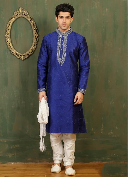 Festival Wear Blue Art Silk Embroidered Work Kurta Pajama